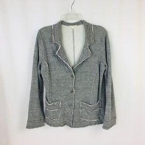 Eileen Fisher Gray Raw Edge Cardigan Jacket Medium